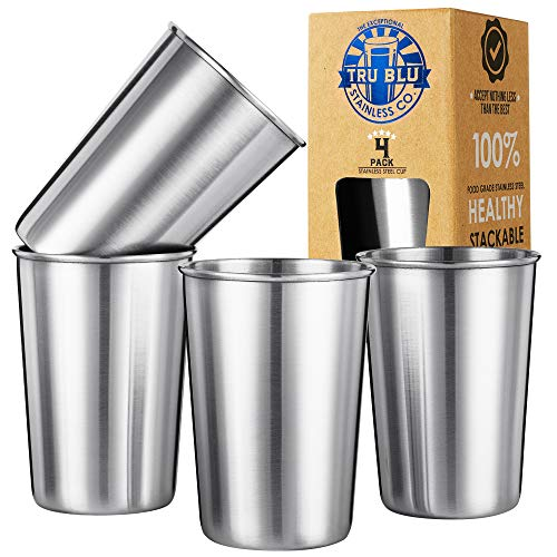 Stainless Steel Cups 6oz (Set of 4) for Kids – Healthy Metal Drinking Glasses - Premium Stackable & Shatterproof - BPA Free, Travel, Lightweight, Unbreakable, Portable