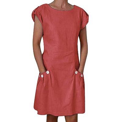 Shakumy Women Cotton Linen Cut Out V Neck Short Mini Dress Casual Short Sleeve Summer Tunic T Shirts Tops Blouses Dress: Clothing