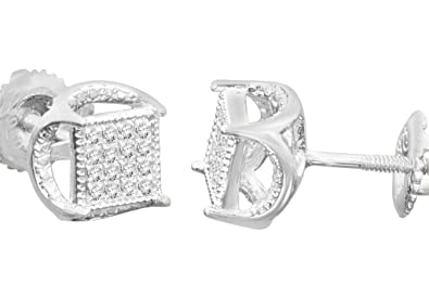1282ed16109 Amazon.com  .11 Carat Mens Womens 5 mm Real Diamonds Sterling Silver ...