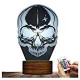 Novelty Lamp, Optical Illusion Skull Night Light 15 Kinds of Discoloration 3D LED Lamp, USB Powered Remote Control Changes the Color of the Light, an Ideal Gift for Children's Friends and Family ,Ambi