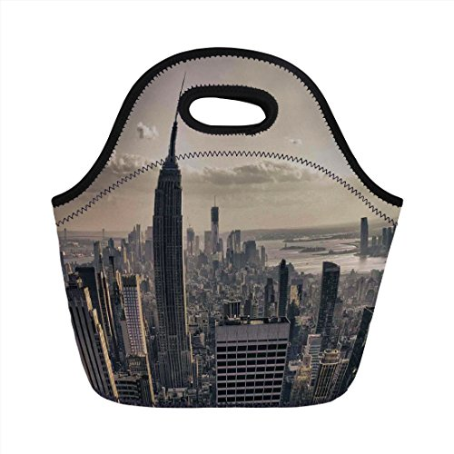 Neoprene Lunch Bag,NYC Decor,Aerial View of NYC in Winter Time American Architecture Historical Popular Metropolis Photo,Beige Grey,for Kids Adult Thermal Insulated Tote Bags