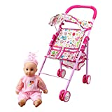 old baby stroller - Annie's Collection Baby Doll Stroller with Doll, Foldable with Basket and Adjustable Hood for Girls Aged 1-2 Years Old