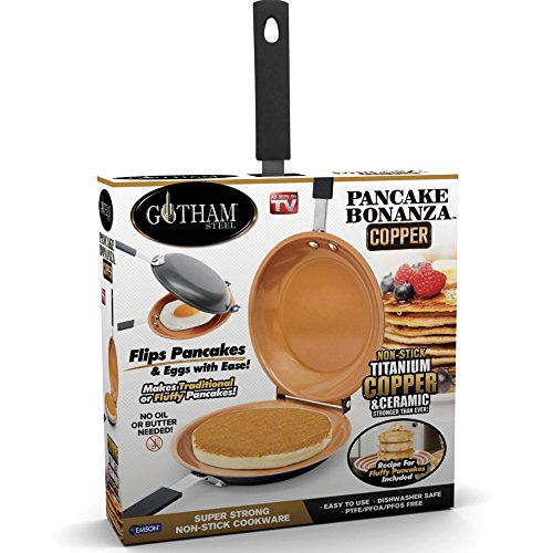 - Gotham Steel Bonanza Nonstick Copper Double Pan – Easy Delicious Perfect Fluffy Pancakes Every Time with Absolutely No Clean Up, As Seen on TV, Large, Brown