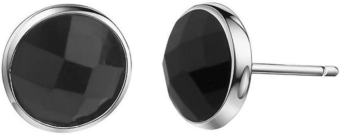 Pendientes Plata de Ley 925 Negro Onyx Aretes 6mm