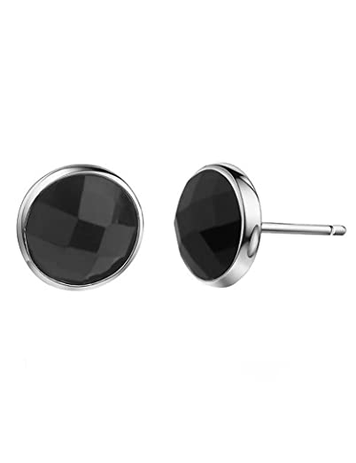925 Sterling Silver Black Onyx Earring Studs Half Round Faceted 6MM fyRuo7W