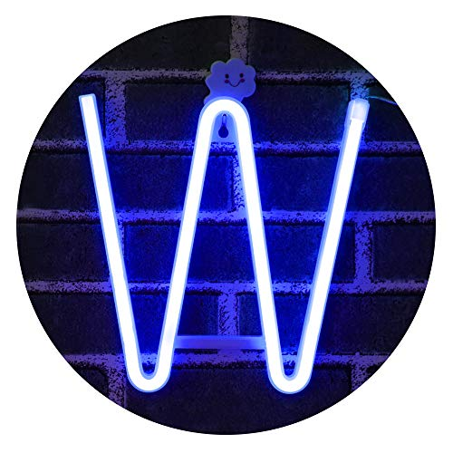 LED Neon Letter Light, USB Batteries Operated Marquee Letter Sign for Night Light Bright Lamp Words for Home, Hotel, Indoor Wall Decor-Blue Letter ()