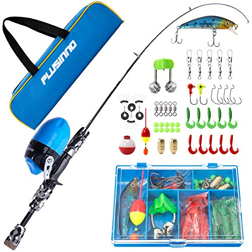 PLUSINNO Kids Fishing Pole with Spincast Reel Telescopic Fishing Rod Combo Full Kits for Boys, Girls, and Adults(Black, 120cm 47.24In)