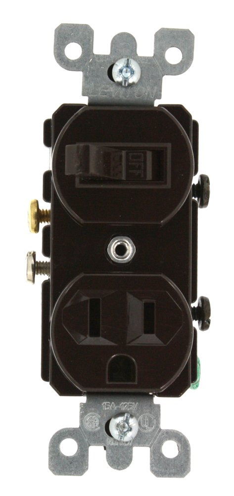 Leviton 5225 15 Amp, 120 Volt, Duplex Style Combination Single Pole ...