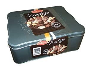 Delacre Prestige Luxury Belgian Chocolate Biscuit Assortment 49.4 Ounce Holiday Gift Tin Assortment