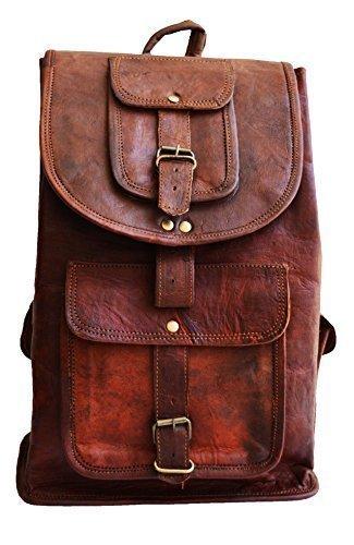 16'' men's womens unisex Genuine leather vintage unique laptop backpack laptop bag for laptop upto 15'' picnic travel school backpack