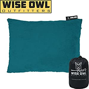 Wise Owl Outfitters Camping Pillow Compressible Foam Pillows – Use When Sleeping in Car, Plane Travel, Hammock Bed & Camp – Adults & Kids - Compact Small & Large Size - Portable Bag - SM Green