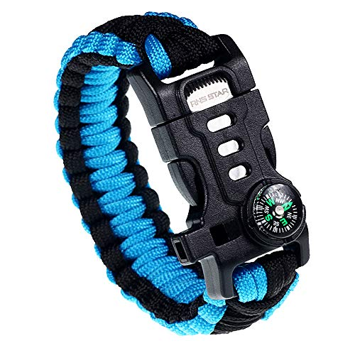 RNS STAR Paracord Survival Bracelet with Paracord Rope, 5-in-1 Tactical Bracelet Fire Starter, Compass, Emergency Whistle & Small Knife for Hiking Traveling Camping Gear Kit (Black_Blue)