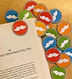 White Mustache Bookmarks - 36 Bulk Bookmarks for Kids girl's boys- School Student Incentives – Library incentives – Reading Incentives - Party Favor Prizes - Classroom Reading Awards!