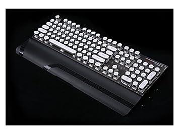 ADream Teclado de Juego mecánico retroiluminado Teclas estándar Teclado USB Vintage (Negro + Blanco): Amazon.es: Electrónica
