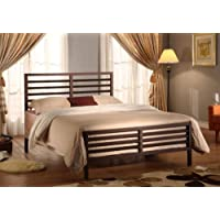 Bronze Metal Annabella Collection Bed Headboard Footboard Rails & Slats (Queen)