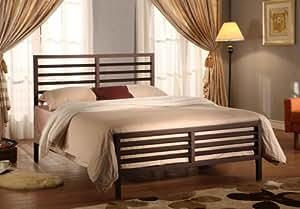 Bronze Metal Annabella Collection Bed Headboard Footboard Rails & Slats (Full)