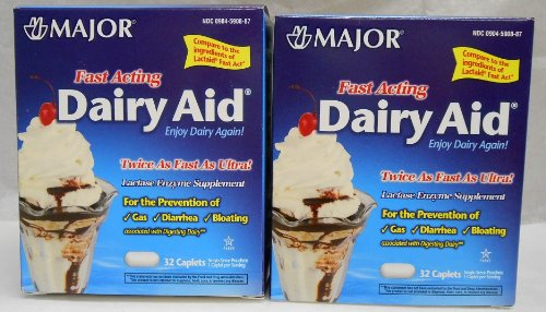 Dairy Aid Lactase Enzyme Caplets Generic for Lactaid Fast Act 64 ea.