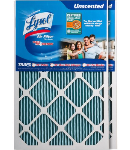 "Lysol Triple Protection Air Conditioner / Furnace Air Filter, 16"" x 25"" x 1"", (2-Pack)"