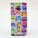BEST- Eshop Color Print Colorful Cute Owls PU Leather + Silicone Magnetic Flip Wallet Card Case Cover with Stand for Apple iPhone 5 5S , With Credit Cards Slots/ Money Holder