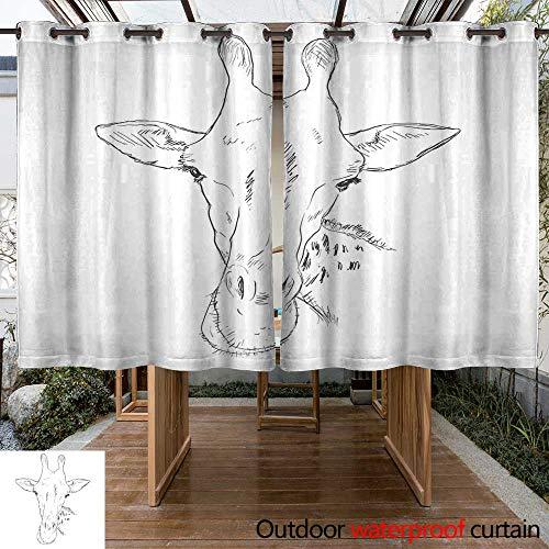 RenteriaDecor Home Patio Outdoor Curtain Vector Sketch Giraffe Muzzle W63 x L72