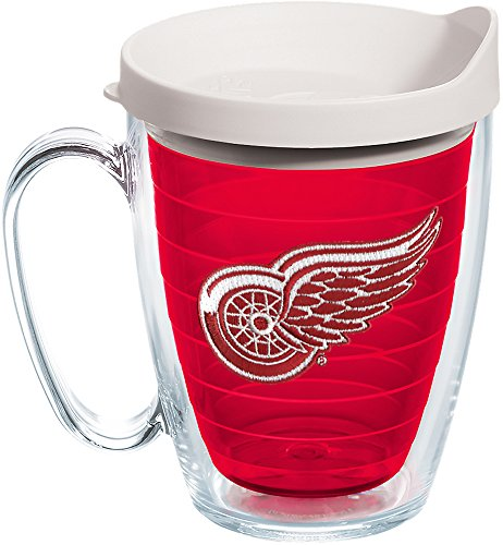 Tervis 1245952 NHL Detroit Red Wings Primary Logo Insulated Tumbler with Emblem and White Lid, 16oz Mug,