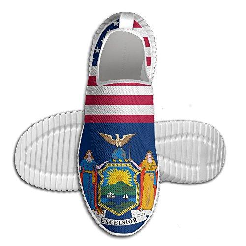 Egg Egg Usa New York Flagg Kvinners Menns Loafers Løpesko Pustende Mesh Utendørs Sport Sko Hvit