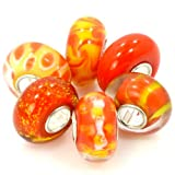 "Pro Jewelry (6 Beads) Glass "" Orange Set "" Beads"