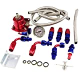 BETTERCLOUD Universal Adjustable EFI Aluminum Fuel Pressure Regulator Kit with 60-160 psi Gauge AN6-6AN Fuel Line Hose Fittings (Red)