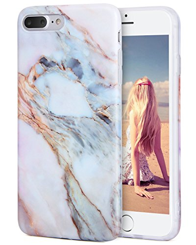iPhone 8 Plus Case, iPhone 7 Plus Case, Imikoko™ Flexible Print Crystal for iPhone 7 Plus (5.5 inch Display) - White Marble Pattern Slim Fit Snap On Case For iPhone 7 Plus White Pink