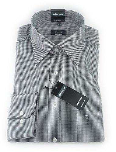 ETERNA Herren Langarm Hemd Comfort Fit Superlange Ärmel (72 cm) schwarz / weiß kariert 4303.39.E198.ÄL72