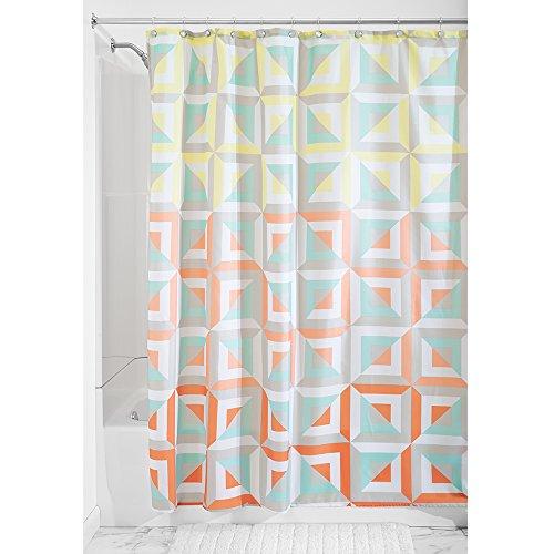 InterDesign Max Fabric Shower Curtain, 72 x 72, Pastel Multi