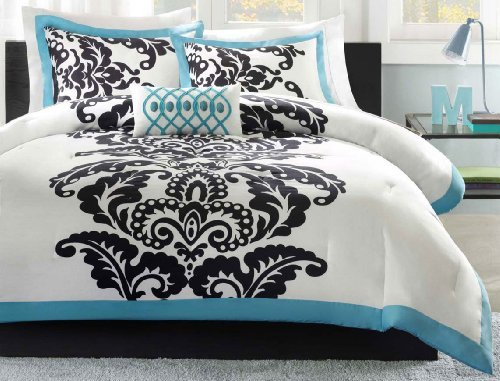 Florentine Comforter Set (Mizone Florentine 4 Piece Comforter Set, Teal, Full/Queen by)