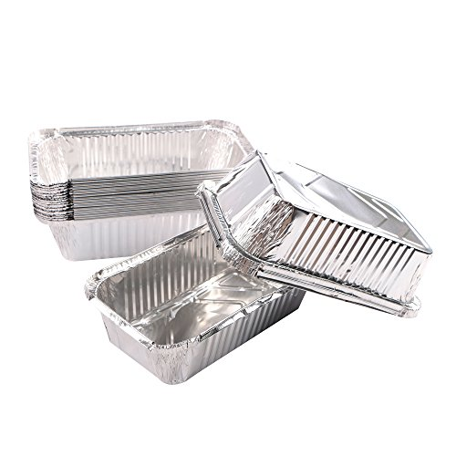 Webake Large Aluminum Foil Tin Pans 9 inch Disposable Aluminum Foil Take-out Containers 3 Lb Foil Bread Pan Loaf Pans Baking Pans For Cake Toast - Pack of 20