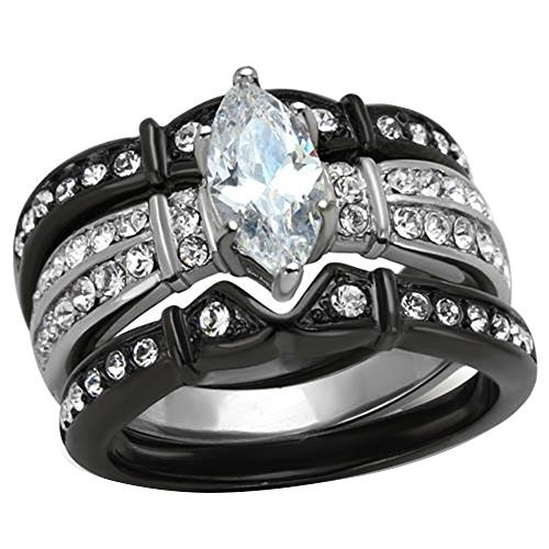 FlameReflection Black Stainless Steel Marquise Cubic Zirconia Wedding Ring Set Women size 8 SPJ