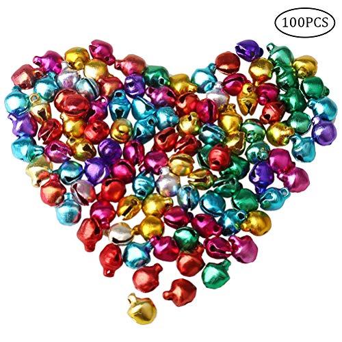 100 pieces Mini Metal Jingle Bells Tiny 6mm  Assorted Colors
