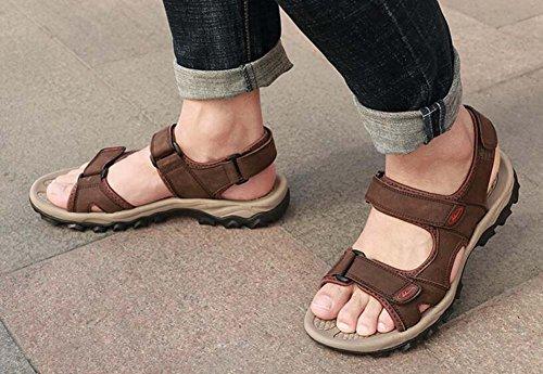 Sandalias de de de Informal Hombres Aire Marrón Cuero Playa la ponibles Sandalias Al Genuino Cuero Verano los Libre 0Bqqf