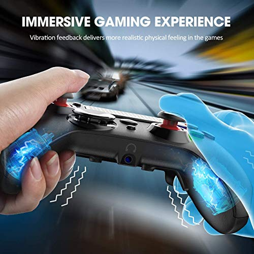 PS4 Controller PICTEK PS4 Controller Wireless Joystick, Dual Vibration, Turbo, Audio Port with LED Light, 16H Playing Scuff Controllers for PS4/ PC/Android
