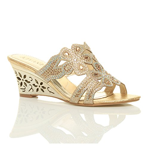 Ajvani Women Size Heel Mid Sandals Gold Wedge Rhinestone Or1qO4cB8