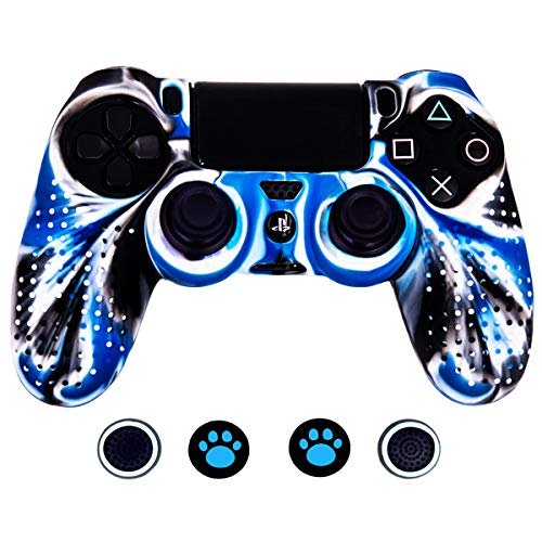 Blue Silicone Protective Skin - Taifond Anti-Slip Silicone Controller Cover Protective Skins PS4/SLIM/PRO Controller 4 Thumb Grip Caps (White&Blue)