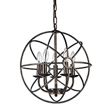 Antique Bronze Globe Sphere Cage Chandelier 5-Light Ceiling Fixture