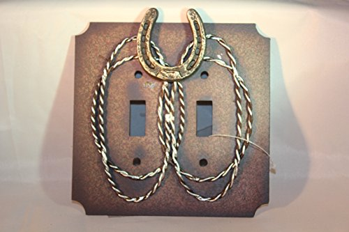 Rainbow Trading RA 9256 Metal Horseshoe Decorative Double Switch Plate - Covers Switch Horse Light