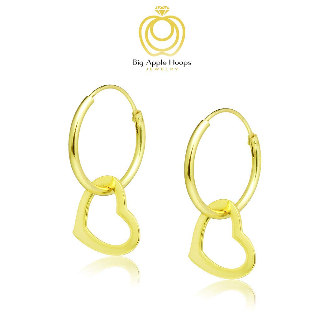 Genuine 925 Sterling Silver Basic and Simple Lightweight Heart Dangle Hoop Earrings Delicate and Unique Style Big Apple Hoops 3 High Polish Mirror Finishes Silver, Yellow Gold, Rose Gold