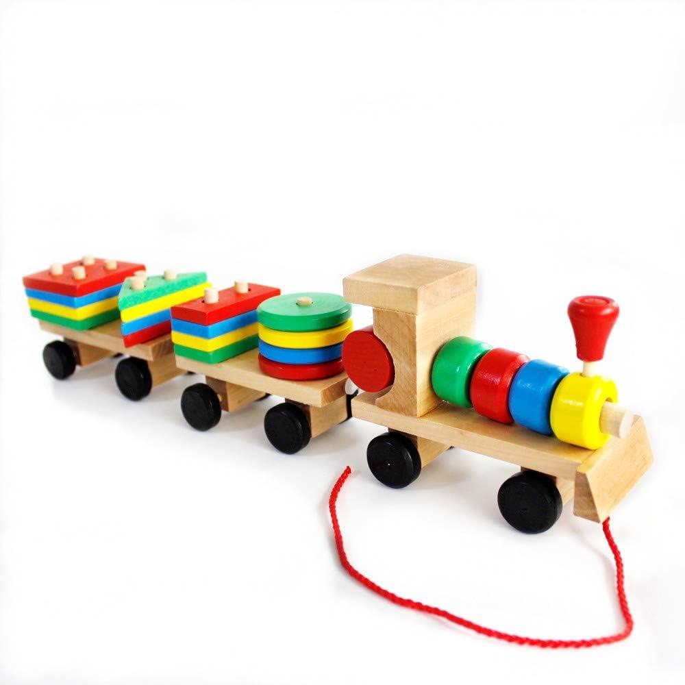 Gobus Tire a lo Largo de Madera del Coche Tren de Juguete Bloques de apilamiento Juguetes del Coche 3 sección de Coches de Madera Juegos de Bloques geométricos Juguetes educativos para los niños