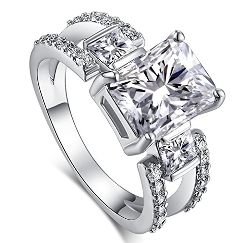 (PAKULA Silver Plated Women Simulated Cubic Zirconia 3 Stone Ring)