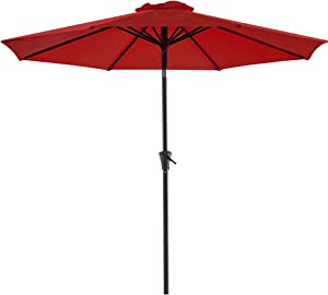 Bluu Patio Umbrella 9 Ft Outdoor Table Market Umbrellas With Push Button Tilt and Crank, 8 Ribs(Brick Red)