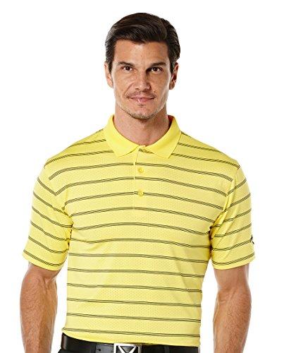 - Callaway Men's Golf Performance Stripe Short Sleeve Polo Shirt, Lemon Zest, Medium
