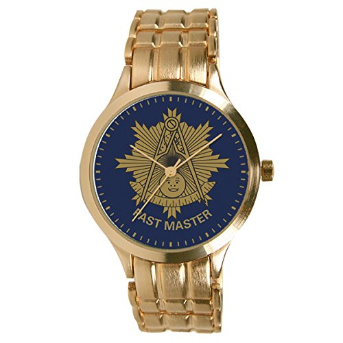 Pedre Men's Round Gold-Tone Bracelet Masonic Past Master Watch 0061GPM