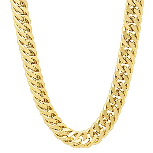- The Bling Factory Men's 8.5mm 14k Gold Plated Double Cuban Link Curb Chain Necklace, 30