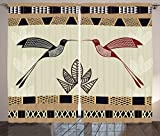 Ambesonne Hummingbirds Decorations Curtains, Image of Bamboo and Hummingbirds Geometric Pattern Traditional Tribal Art, Living Room Bedroom Decor, 2 Panel Set, 108 W X 84 L Inches, Brown Black Review
