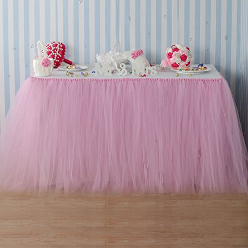 Fivejorya 3.3ft Baby Pink Tulle Table Skirt Queen Wonderland Tablecloth Skirting Tutu Tablecloth Tableware for Christmas Wedding Baby Shower Birthday Party Cake Dessert Table Decor -